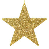 Golden glittering star ornament — Stock Photo
