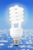 Modern light bulb and climate background — Stok fotoğraf
