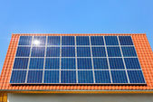 Solar panel on a roof under the cloudless sky — Stock Photo