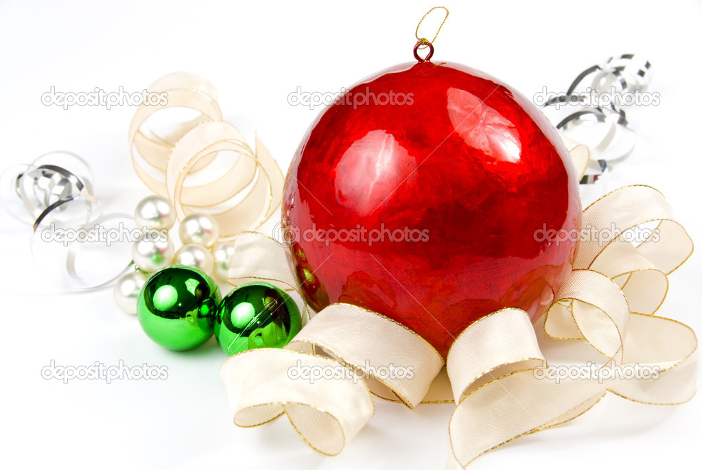 Christmas decoration with red, green and gold on white background  Stock Photo #4303979