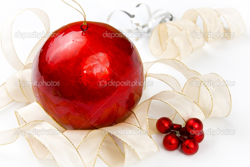 Christmas decoration with red and gold on white background  Stock Photo #4303981