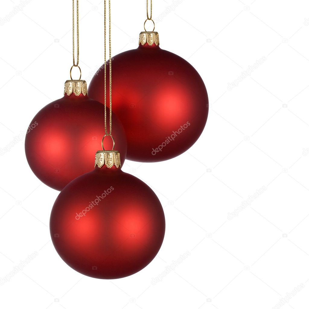 Christmas arrangement with three red baubles on pure white background for your text and/or design — Zdjęcie stockowe #4305511