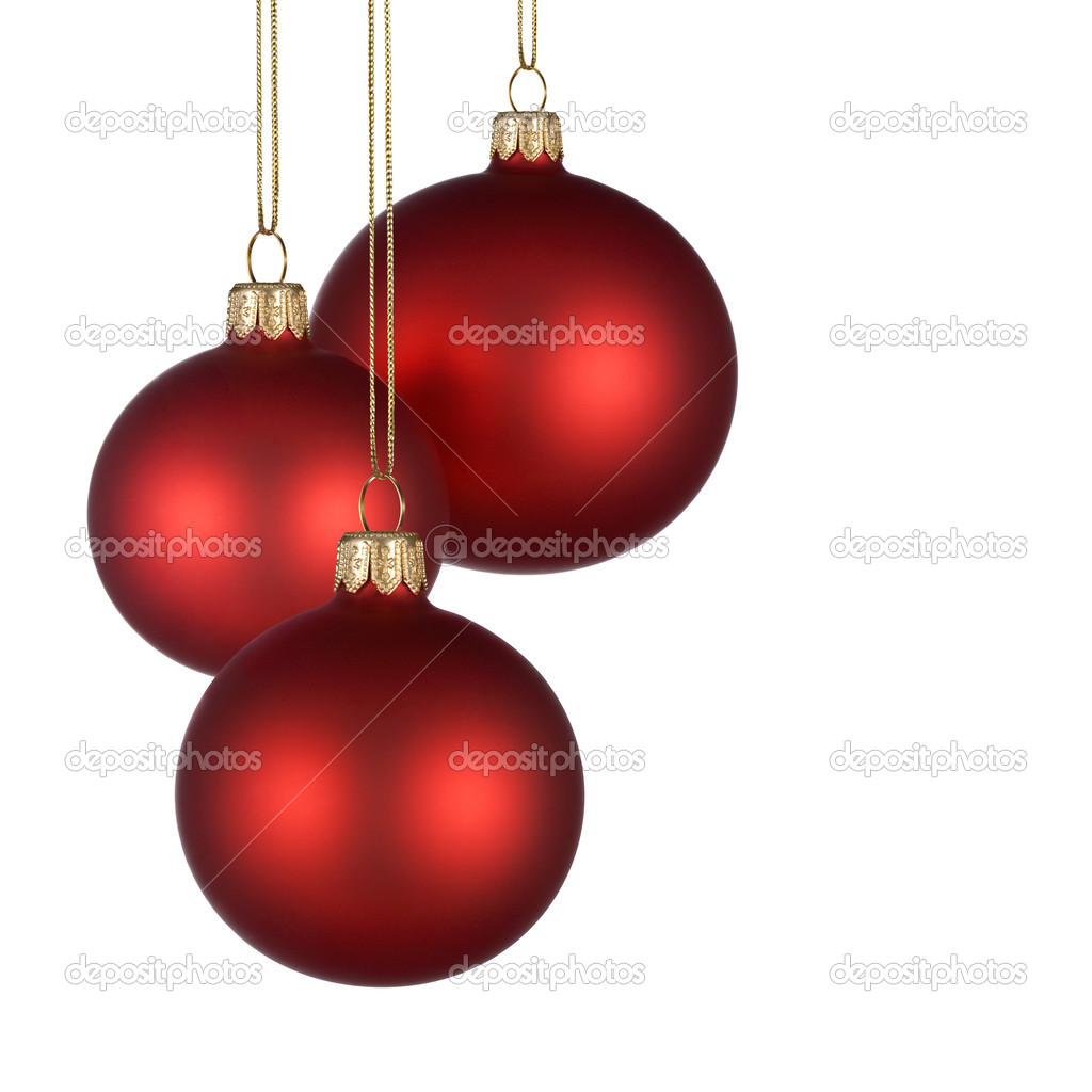 Christmas arrangement with three red baubles on pure white background for your text and/or design — Foto Stock #4305511