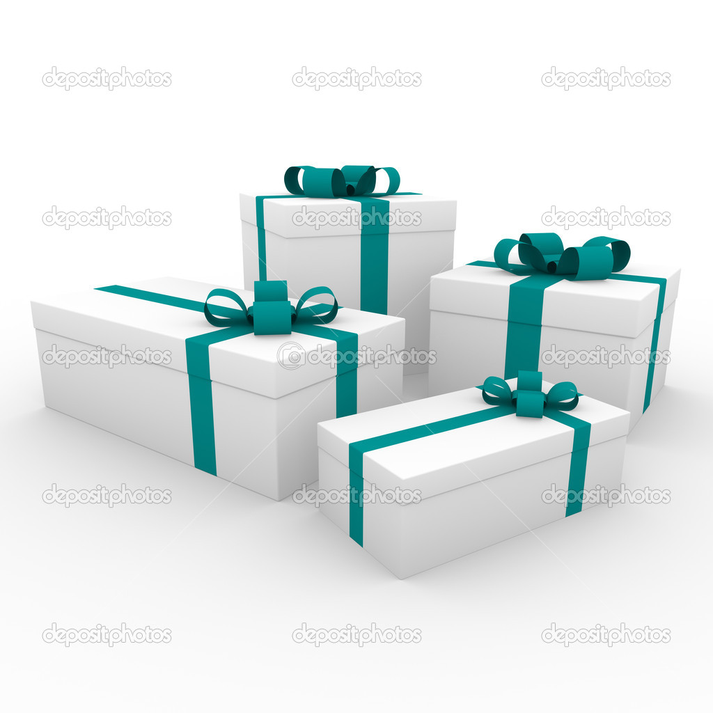 3d green turquoise white gift box isolated on white background — Stock Photo #4162530