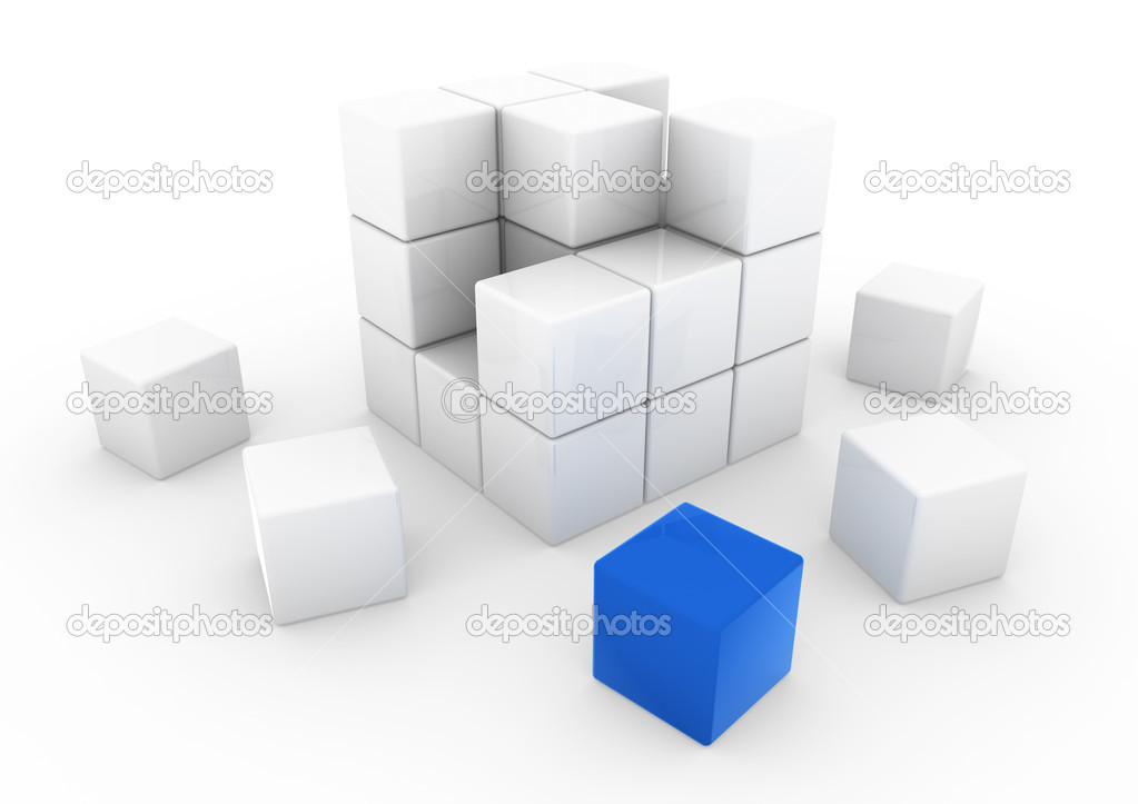 3d blue white business cube isolated white background — Stock Photo #4162550