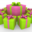Stock Photo: 3d green pink white gift box circle