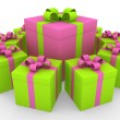 Royalty-Free Stock Photo: 3d green pink white gift box circle