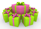 Círculo de caixa de presente branco rosa verde 3d — Foto Stock