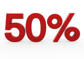 3d red white sale 50 — Stock Photo