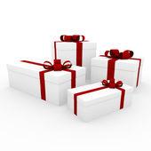 3d red white gift box — Stock Photo