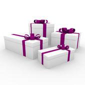 3d blanc rose violet boîte de cadeau — Photo