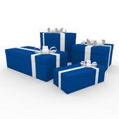 3d scatola regalo bianco blu — Foto Stock