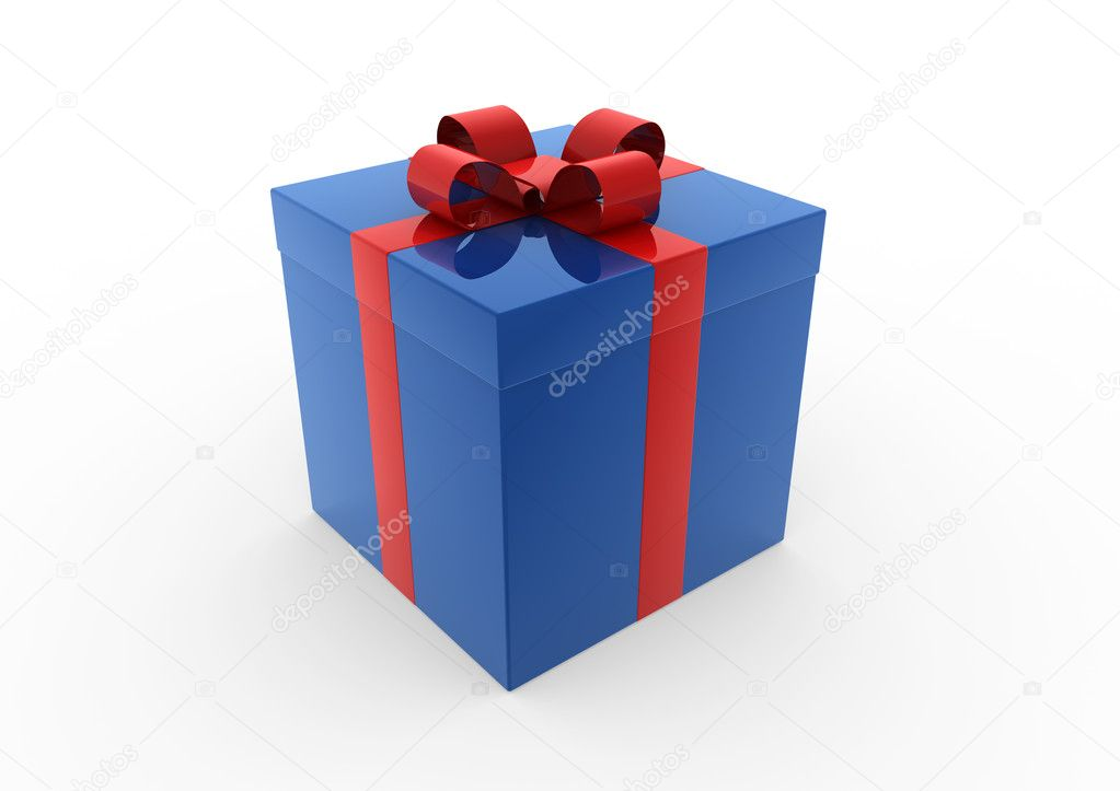 3d blue red white gift box isolated white background — Stock Photo #4210943