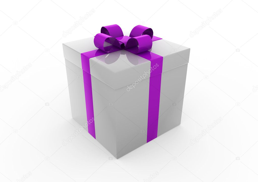 3d gray purple white gift box isolated on white background  Stock Photo #4210957