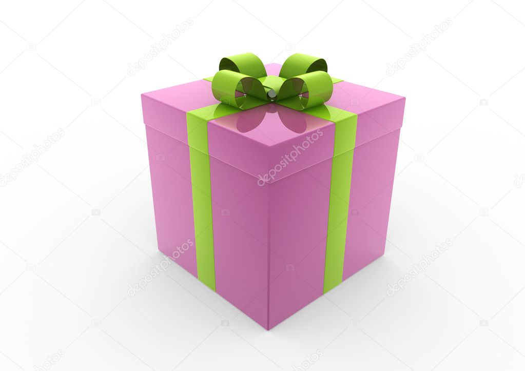 3d pink green white gift box isolated on white background — Stock Photo #4210962