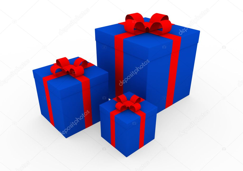 3d blue red white gift box isolated on white background — Stock Photo #4211405
