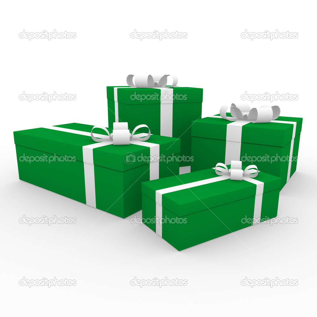 3d green white gift box isolated on white background  Stock Photo #4211933