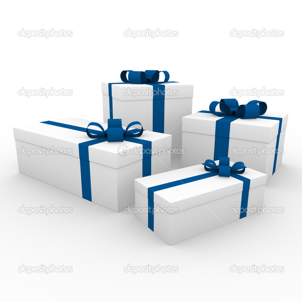3d blue white gift box isolated on white background — Stock Photo #4211983