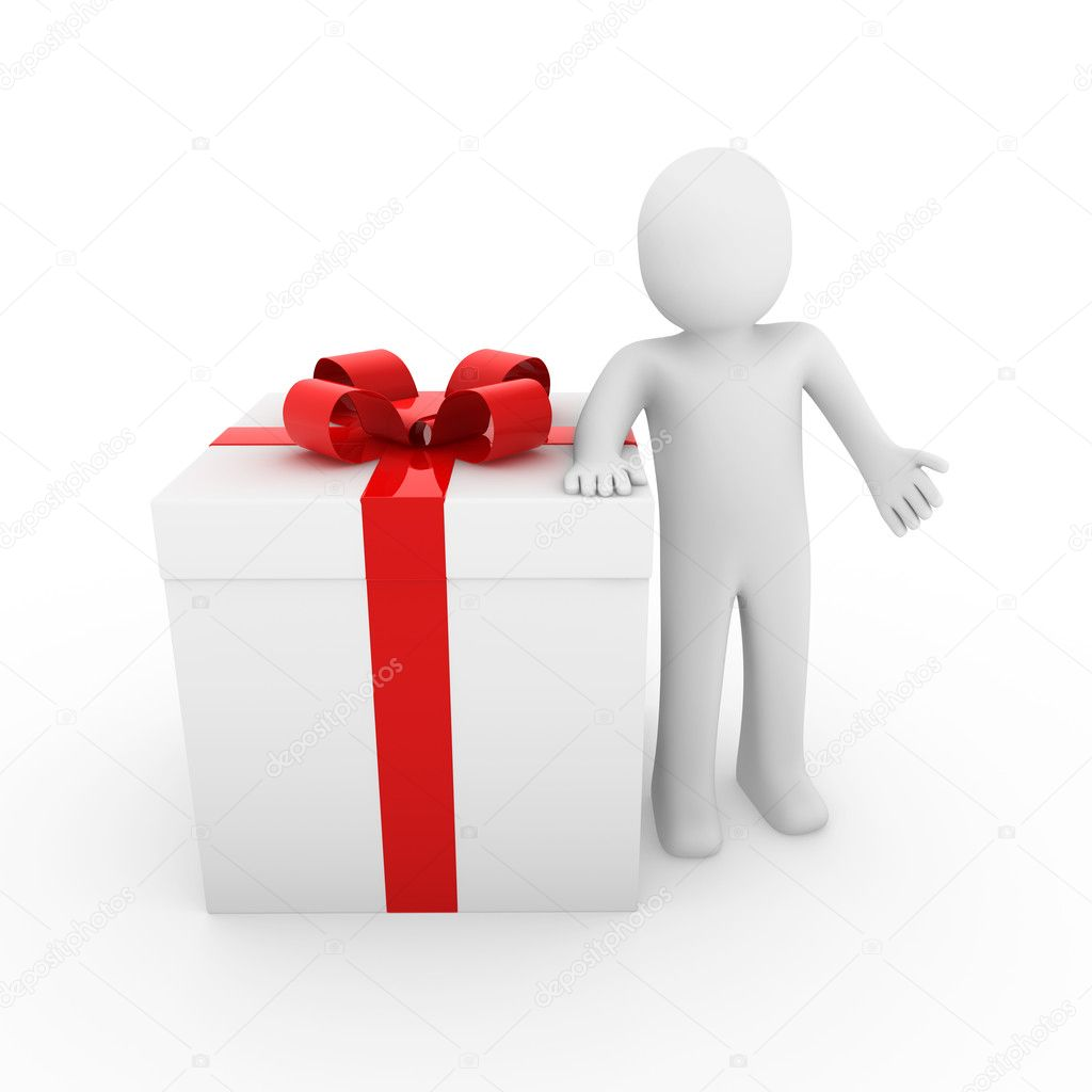 3d human gift box red big isolated white background  Stock Photo #4333648