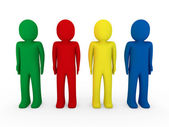 3d human team blue red green yellow — Stock Photo