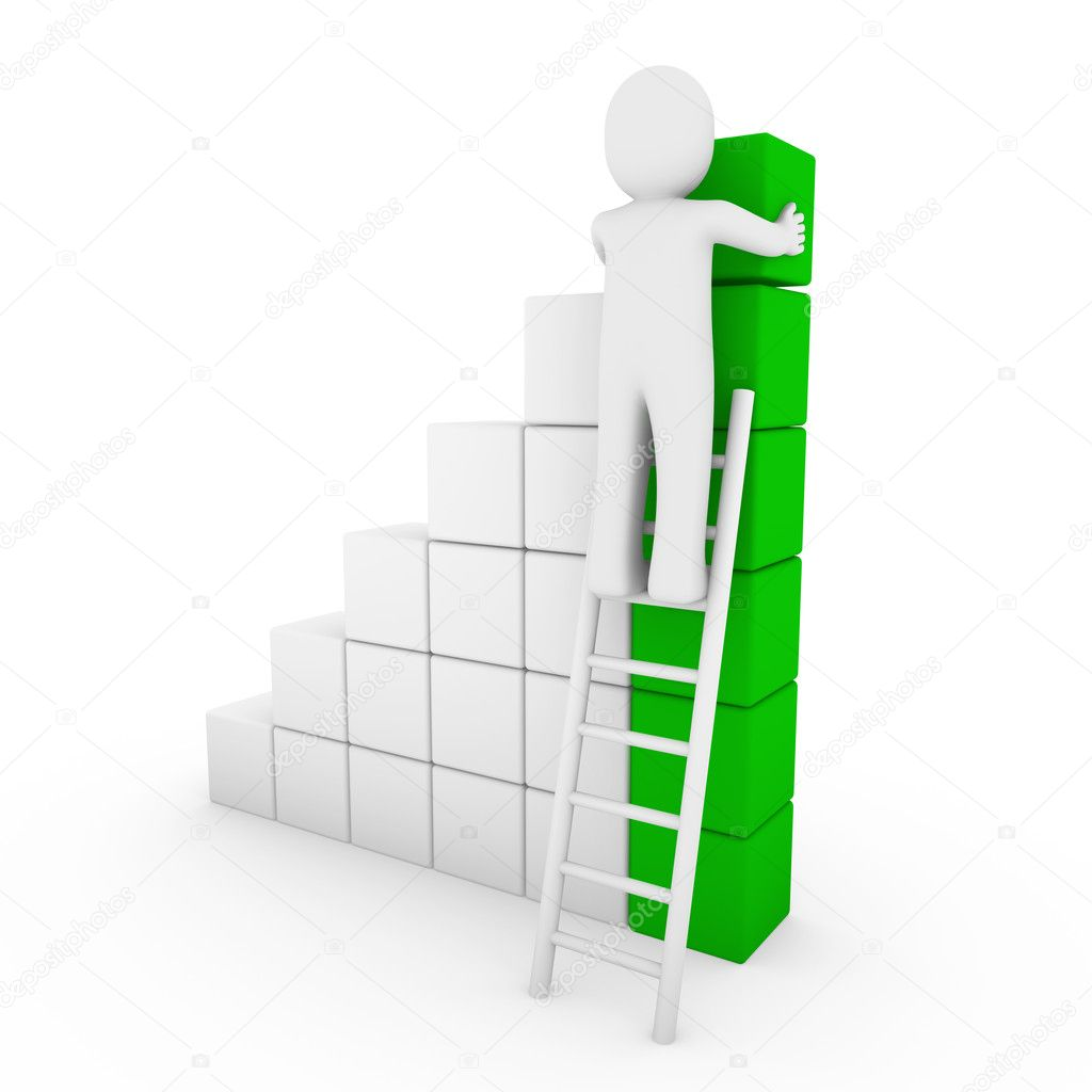 3d human cube ladder green white success business isolated  Stock Photo #4679007