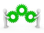 3d human gear machine green — Stock Photo