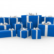 3d blue white gift box — Stock Photo