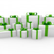 3d green white gift box — Stock Photo