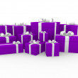 3d purple pink white gift box — Stock Photo