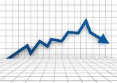 3d graph arrow blue down — Stock Photo