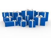 3d blue white gift box — Stock Photo