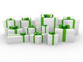3d green white gift box — Stockfoto