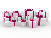 3d-roze rood wit gift box — Stockfoto
