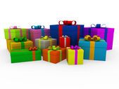 3d colorful white gift box — Stock Photo
