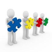 3d men puzzle teamwork — Stock Photo