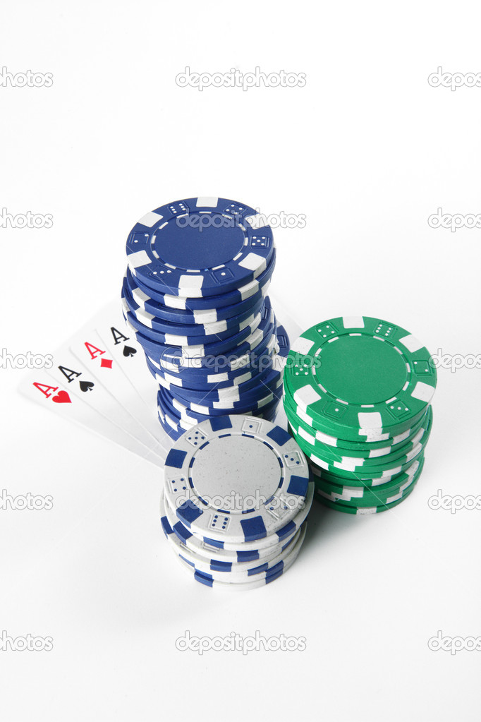 Stash of chips and playing cards — Stock Photo #4777258