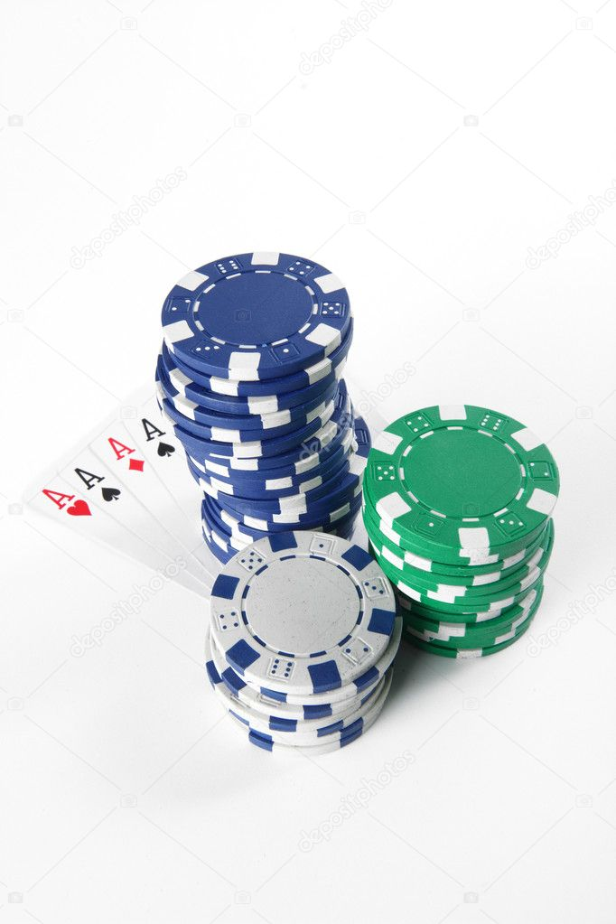 Stash of chips and playing cards  Stock Photo #4777258