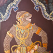 Art thai painting on wall in temple - 图库照片