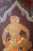 Art thai painting on wall in temple — Stock Photo