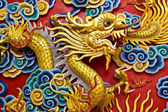 Golden dragon statue in chinese temple in Chonburi province Thai — Stock Photo