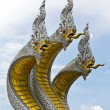 Three naga head in thai temple — 图库照片