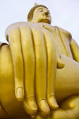 Big hand big buddha image in thai temple — Stock Photo
