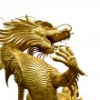 Colorful Golden dragon statue on white background - Stock Photo