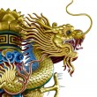 Golden dragon statue on white background — Foto Stock