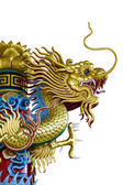 Golden dragon statue on white background — Stock Photo