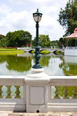 Old style lamppost around garden in bang pa-in Palace Ayutthaya — Stock Photo