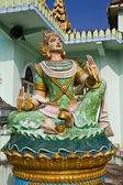 Deva statue in myanmar style molding art in temple — Stock Photo