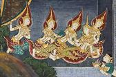 Art thai painting on wall in temple wat phra kaeo — Stock Photo