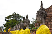 Row of Sacred Buddha images in Ayutthaya, Thailand — Stock Photo