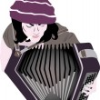 Busker - accordion — Stock Vector